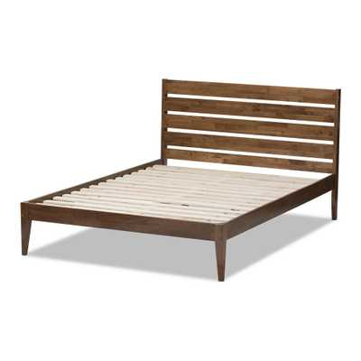 Elmdon Medium Brown Wood Full Platform Bed - Home Depot