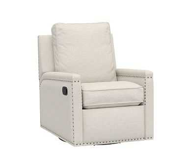 Tyler Swivel Glider Recliner, Sunbrella Performance Slub Tweed Pebble (D), Bronze Nailheads - Pottery Barn Kids