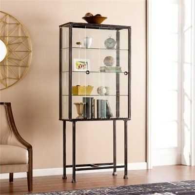 Bowery Hill Sliding Door Display Cabinet in Black - eBay