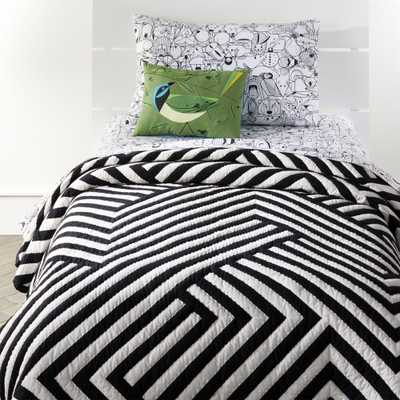 Black and White Geometric Full-Queen Quilt - Crate and Barrel