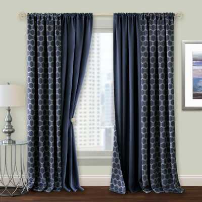 Achim Prelude 50 in. W x 84 in. L Reversible Blackout Rod Pocket Curtain Panel in Navy (Blue) - Home Depot