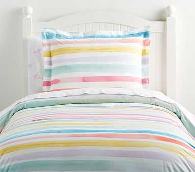Kayla Rainbow Stripe Duvet Cover, Full/Queen, - Pottery Barn Kids