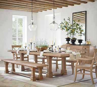 """Lucca Extending Dining Table, Salvaged Pine, 92""""L x 42""""W - Pottery Barn"""
