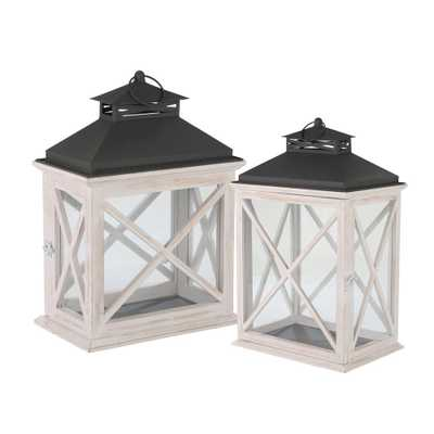 Home Decorators Collection Ivory X-Design Wood Rectangle Lantern (Set of 2), Ivory and Black - Home Depot