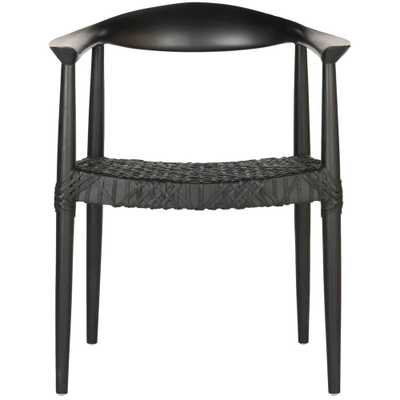 Bandelier Black Leather Arm Chair - Home Depot
