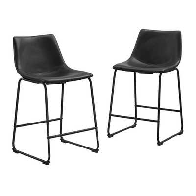 Wasatch 36 in. Black Bar Stools (Set of 2) - Home Depot