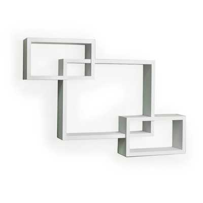 26.5 in. x 19 in. White Laminated Intersecting Squares Floating Shelf - Home Depot