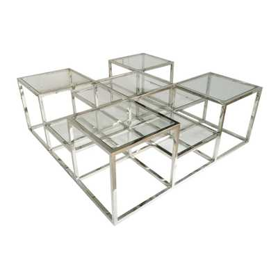 A & B Home Atelier Silver Square Cocktail Table - Home Depot