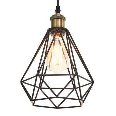 Home Luminaire 1-Light Black and Antique Brass Details Diamond Cage Pendant with 3 ft. Cord - Home Depot