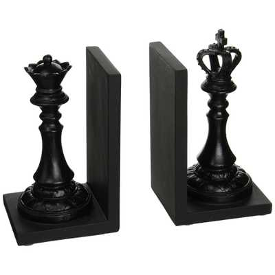 Royal Black King and Queen Decorative Bookends - Home Depot