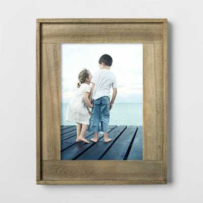 "5""X7"" Raised Edge Plank Wood Frame Brown - Threshold, Multi-Colored - Target"