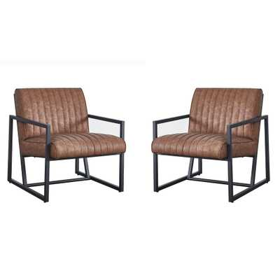 Harper & Bright Designs Brown Modern High Quality PU Steel Accent Armchair - Home Depot