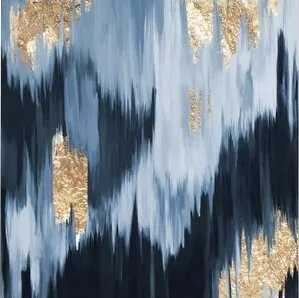 'Gold Blue Fall' Wrapped Canvas Oil Painting on Canvas - AllModern
