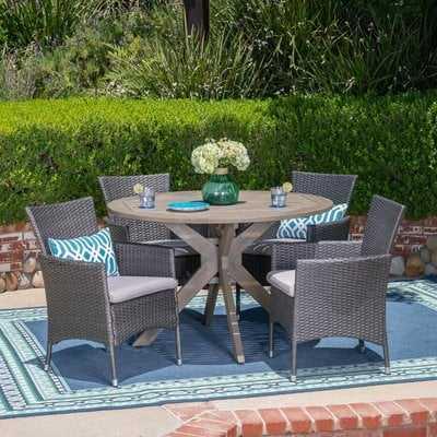 Stennis Outdoor 5 Piece Wicker Dining Set with Cushions - Wayfair