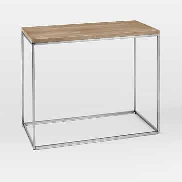 Streamline Side Table, Whitewashed Mango Wood/Stainless Steel - West Elm
