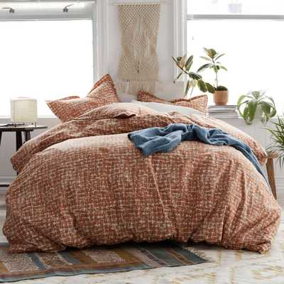 Brexton 3-Piece 200-Thread Count Cotton Percale Full Duvet Cover Set in Terracotta - Home Depot
