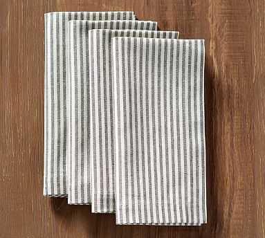 Wheaton Stripe Napkin, Set of 4 - Charcoal - Pottery Barn