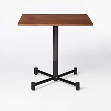 Branch Base Square Dining Table, Dark Walnut, Antique Bronze/Glossy Black - West Elm