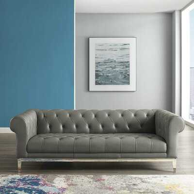 Idyll Tufted Button Upholstered Leather Chesterfield Sofa In Gray - Wayfair
