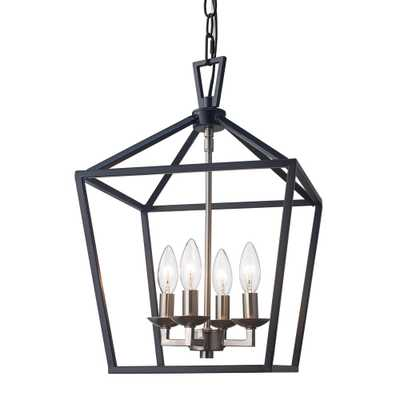 Bel Air Lighting Lacey 4-Light Black and Brushed Nickel Pendant - Home Depot