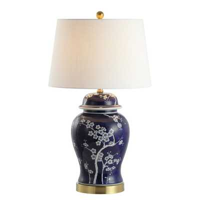 JONATHAN Y Gracie 29.5 in. Ginger Jar Ceramic/Metal LED Table Lamp, White/Navy - Home Depot