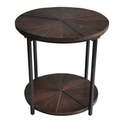 Gallien Round Metal and Rustic Wood End Table - Birch Lane