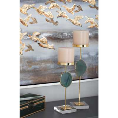 Gold Metal Candle Holders with Agate Stone (Set of 2), Gold/Green - Home Depot