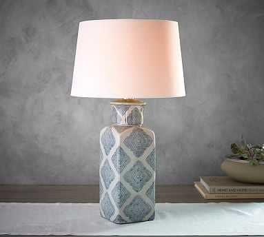 """Jamie Young Langley 24.5"""" Ceramic Urn Lamp, Navy - Pottery Barn"""