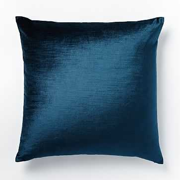 "Cotton Luster Velvet Pillow Cover, 20""x20"", Regal Blue - West Elm"