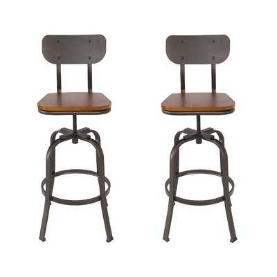 Garon Adjustable Height Swivel Bar Stool - Wayfair