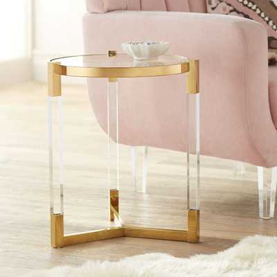 Darla Gold and Acrylic Round Accent Table - Style # 55J81 - Lamps Plus