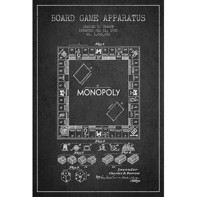 'Monopoly Charcoal Patent Blueprint' Graphic Art on Wrapped Canvas - Wayfair