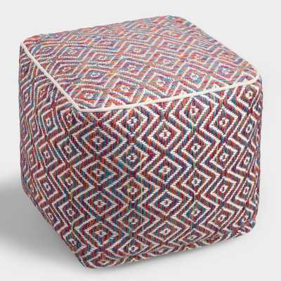 Multicolor Knit Indoor Outdoor Patio Pouf - Polyester by World Market - World Market/Cost Plus