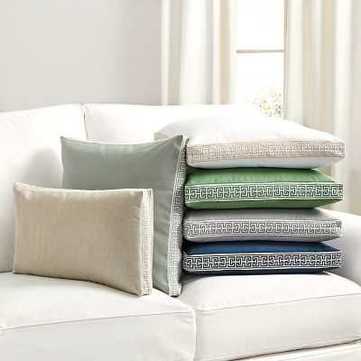 "Ballard Designs Embroidered Box Edge Pillow Cover Spa/White 20"" x 20"" - Ballard Designs"