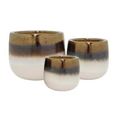 Ceramic Planter (Set of 3), White - Home Depot