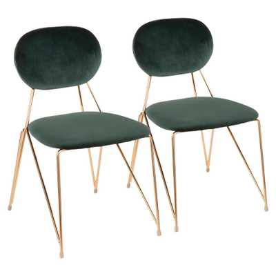 Gwen Gold with Green Velvet Side Chair (Set of 2), Green/Gold - Home Depot