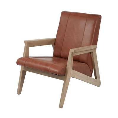 Angular Modern Tan Leather Lounge Chair, Tan/Mid Tone Wood - Home Depot