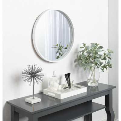 Travis Round White Mirror - Home Depot