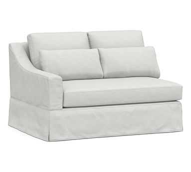 York Slope Arm Deep Seat Slipcovered Left-arm Loveseat with Bench Cushion, Down Blend Wrapped Cushions, Performance Slub Cotton White - Pottery Barn