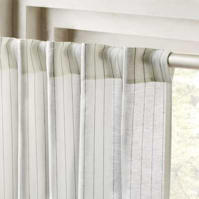 "Pinstripe White/Black Curtain Panel 48""x108"" - CB2"