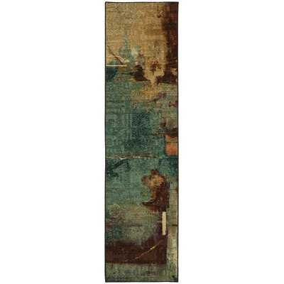 Abstract Tufted Aqua/Rust Red/Tan/Brown Area Rug - AllModern