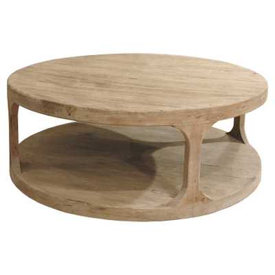 Sian Rustic Lodge Brown Pine Wood Round Coffee Table - Kathy Kuo Home
