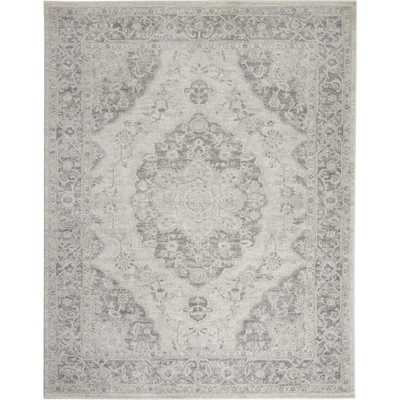 Nourison Tranquil TRA05 Grey and White 8'x10' Rug, Ivory/Grey - Home Depot
