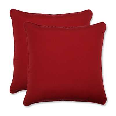 2-Piece Outdoor Square Pillow Set - Red 18 - Target