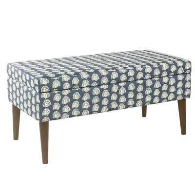 Winston Porter Mid-Century Storage Bench - Teal Floral - Wayfair