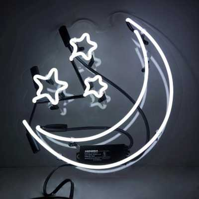 Oliver Gal 'Moon and Stars' Plug-in Neon Lighted Sign, White - Home Depot