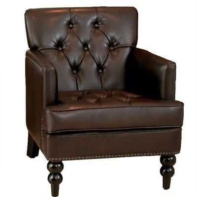 Trent Home Melissa Leather Tufted Club Chair in Brown - eBay