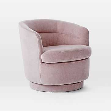 Viv Swivel Chair, Light Pink, Distressed Velvet, Individual - West Elm