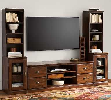 Printers Medium TV Stand Suite with Towers & Bridge (1 Large TV Stand, 2 Glass Door Peds, 2 Bookcase Hutches, 2 Single Top, 1 Bridge), Tuscan Chestnut - Pottery Barn