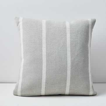 "Outdoor Simple Stripe Pillow, 20""x20"", Stone Gray - West Elm"